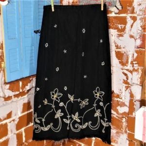 Requirements Long Black Embroidered Skirt Size S